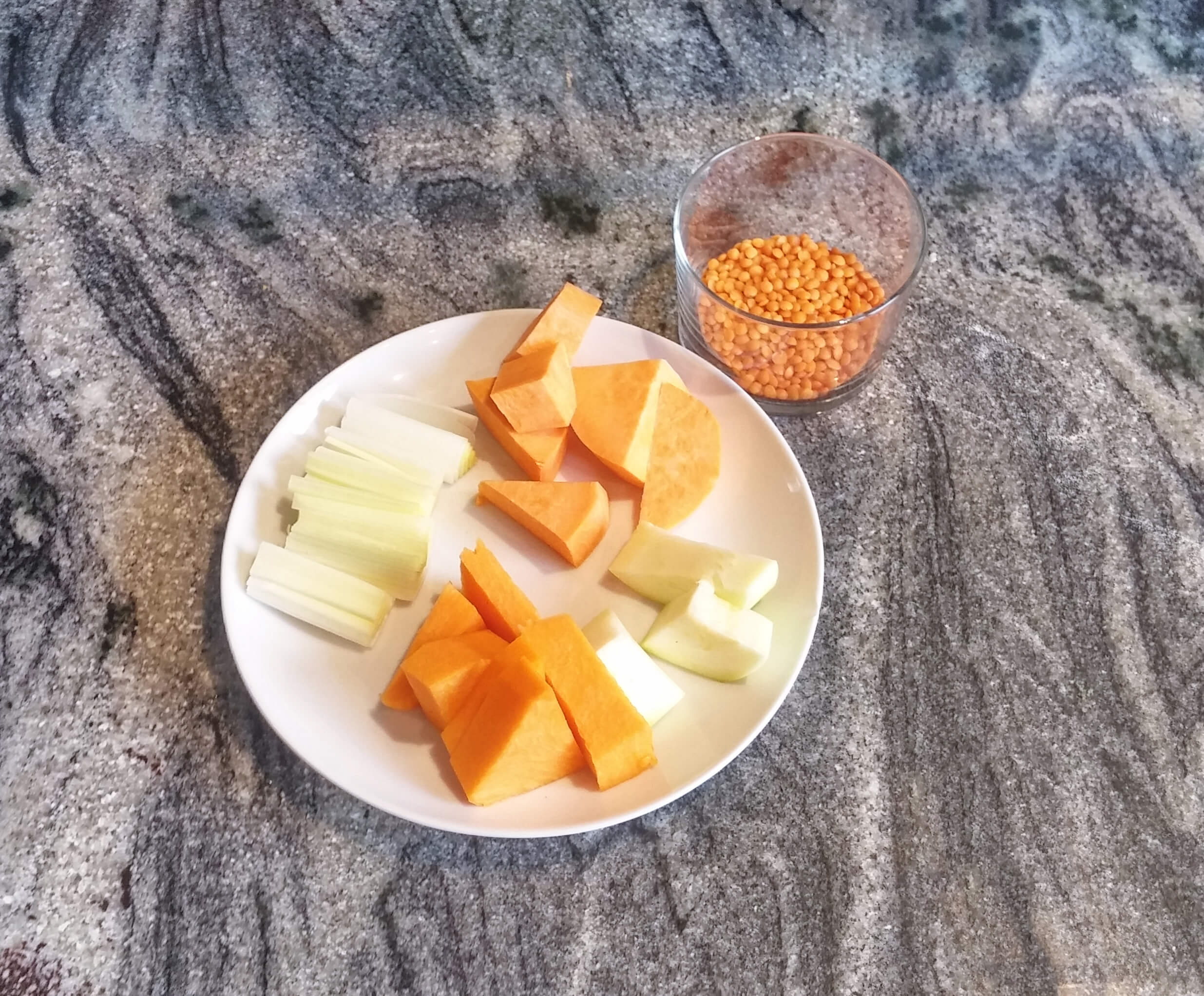Ingredientes para Receta de pure de lenteja roja
