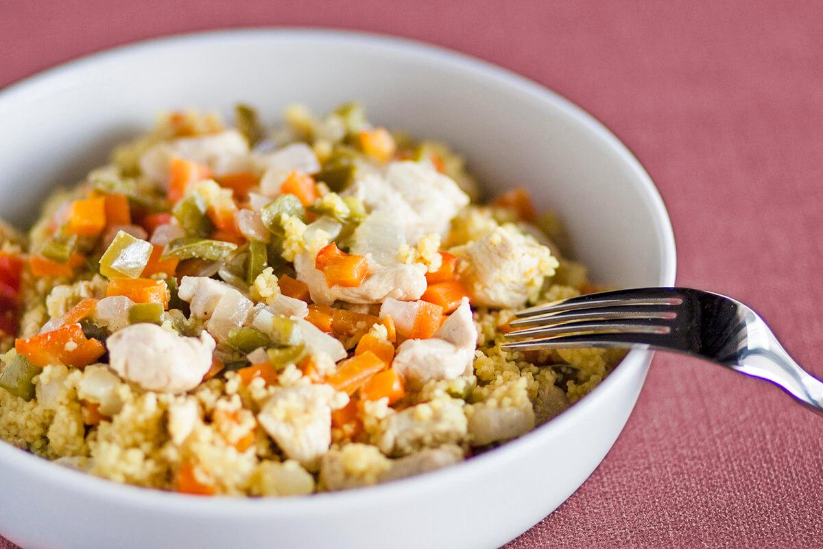 Receta de cuscús con verduras y pollo para bebés
