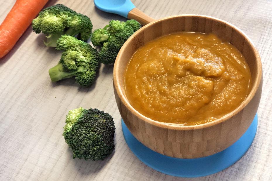Receta de puré de brócoli y zanahoria para bebés