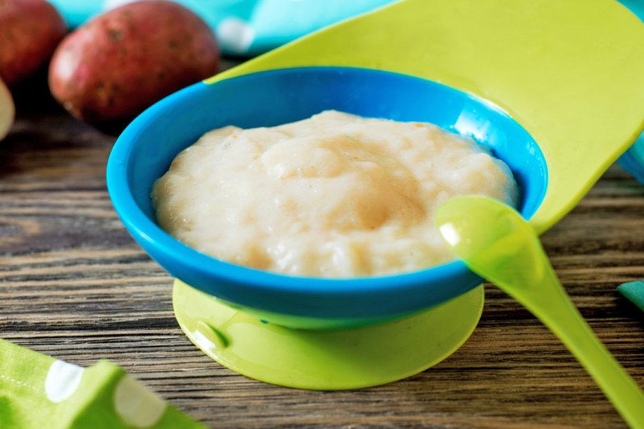 Receta de puré de arroz, patata y pollo para bebés