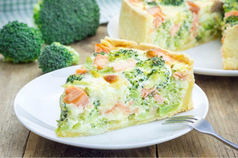 Receta de quiche de brócoli y salmón para bebés