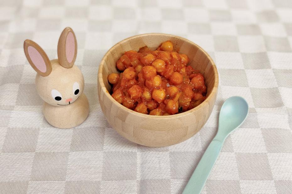 Receta de garbanzos con tomate para bebés