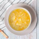 Receta de sopa de repollo y patata para bebés